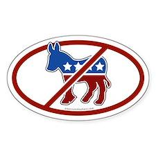 No Democrat White Bumper Oval Decal