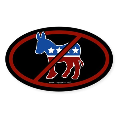 No Democrats Black Bumper Oval Sticker