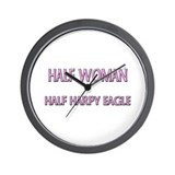 Half Woman Half Harpy Eagle Wall Clock