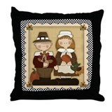 Thanksgiving Pilgrims Throw Pillow
