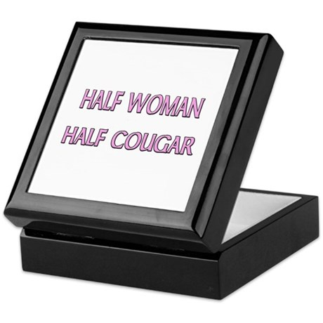 Half Woman Half Cougar Keepsake Box