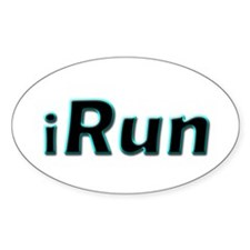 iRun, aqua trim Oval Decal