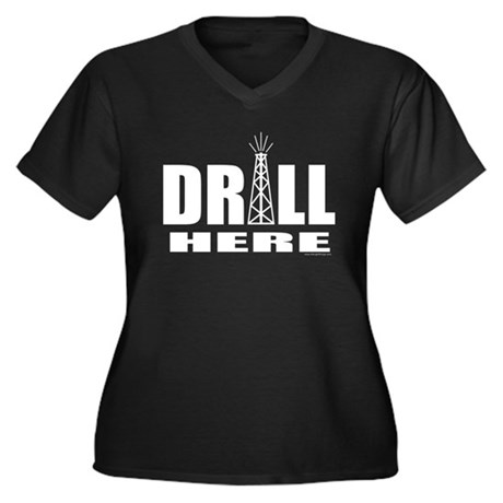 Drill Here Women's Plus Size V-Neck Dark T-Shirt