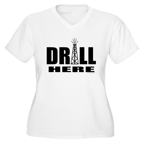 Drill Here Women's Plus Size V-Neck T-Shirt