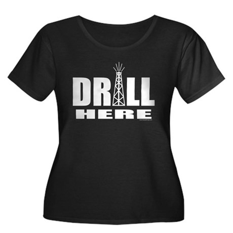 Drill Here Women's Plus Size Scoop Neck Dark T-Shi