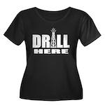 Drill Here Women's Plus Size Scoop Neck Dark T-Shi