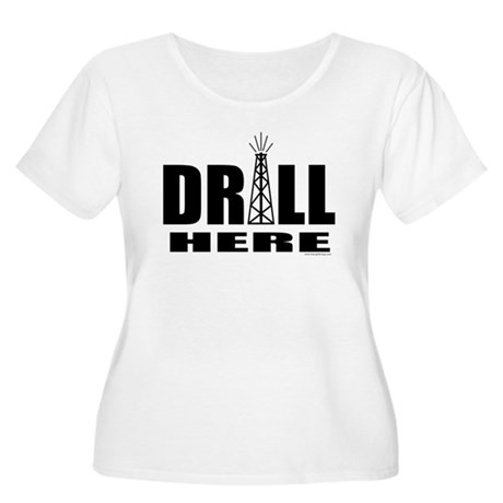 Drill Here Women's Plus Size Scoop Neck T-Shirt