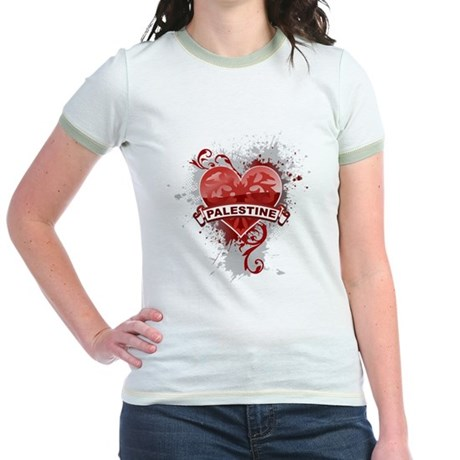 Heart Palestine Jr. Ringer T-Shirt