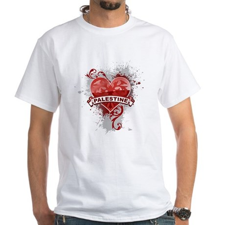 Heart Palestine White T-Shirt