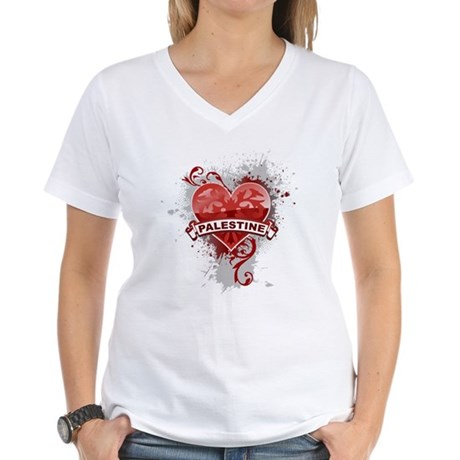 Heart Palestine Women's V-Neck T-Shirt