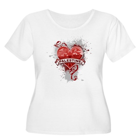 Heart Palestine Women's Plus Size Scoop Neck T-Shi