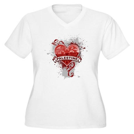 Heart Palestine Women's Plus Size V-Neck T-Shirt
