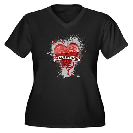 Heart Palestine Women's Plus Size V-Neck Dark T-Sh