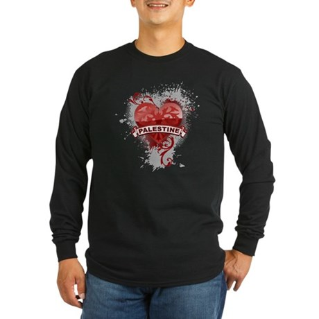 Heart Palestine Long Sleeve Dark T-Shirt