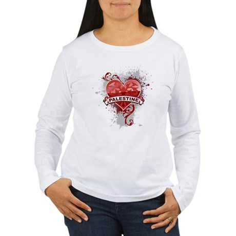 Heart Palestine Women's Long Sleeve T-Shirt