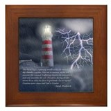 A Stormy Lighthouse Framed Tile