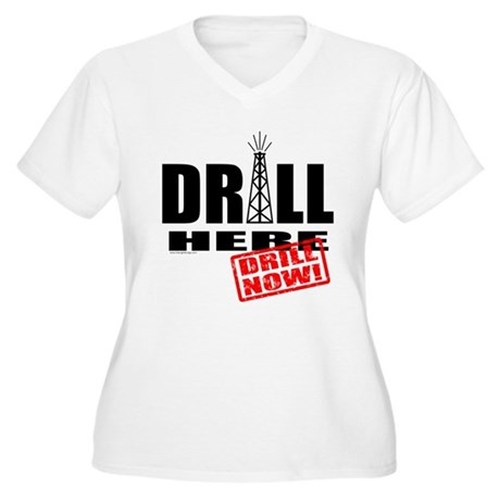 Drill Here and Now Women's Plus Size V-Neck T-Shir