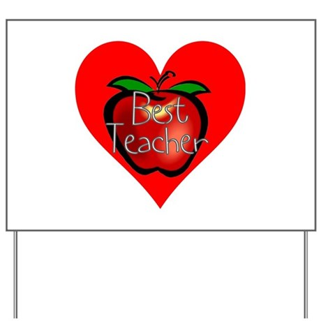 Best Teacher Apple Heart Yard Sign