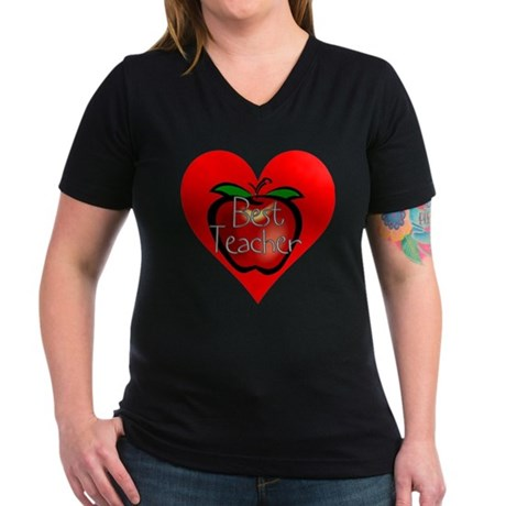 Best Teacher Apple Heart Women's V-Neck Dark T-Shi
