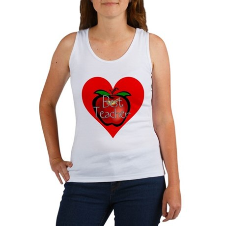 Best Teacher Apple Heart Women's Tank Top