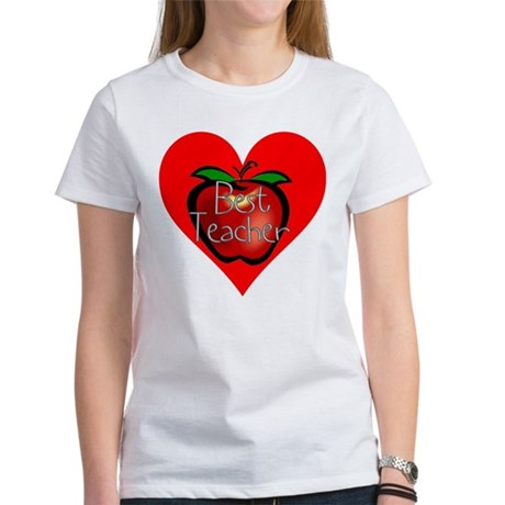 Best Teacher Apple Heart Women's T-Shirt