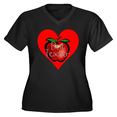 Best Teacher Apple Heart Women's Plus Size V-Neck