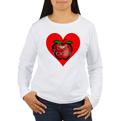 Best Teacher Apple Heart Women's Long Sleeve T-Shi