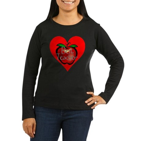 Best Teacher Apple Heart Women's Long Sleeve Dark