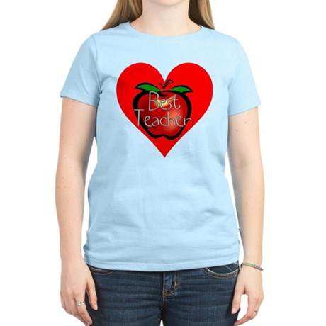 Best Teacher Apple Heart Women's Light T-Shirt