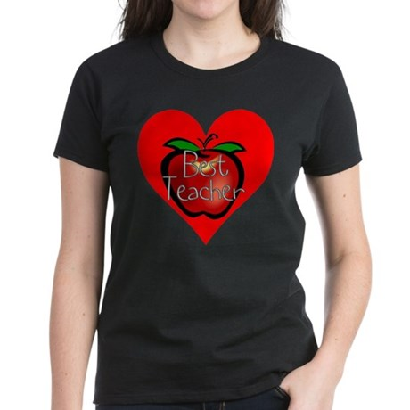 Best Teacher Apple Heart Women's Dark T-Shirt