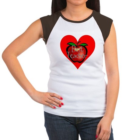 Best Teacher Apple Heart Women's Cap Sleeve T-Shir