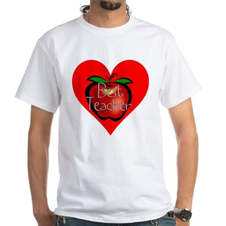 Best Teacher Apple Heart White T-Shirt