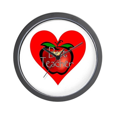 Best Teacher Apple Heart Wall Clock