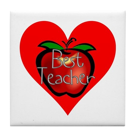 Best Teacher Apple Heart Tile Coaster