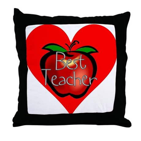 Best Teacher Apple Heart Throw Pillow