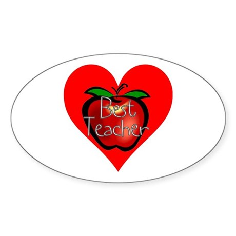 Best Teacher Apple Heart Oval Sticker (10 pk)