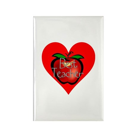 Best Teacher Apple Heart Rectangle Magnet (100 pac