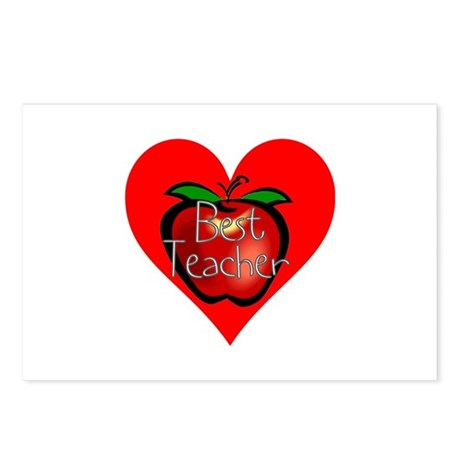 Best Teacher Apple Heart Postcards (Package of 8)