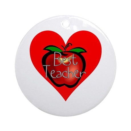 Best Teacher Apple Heart Ornament (Round)