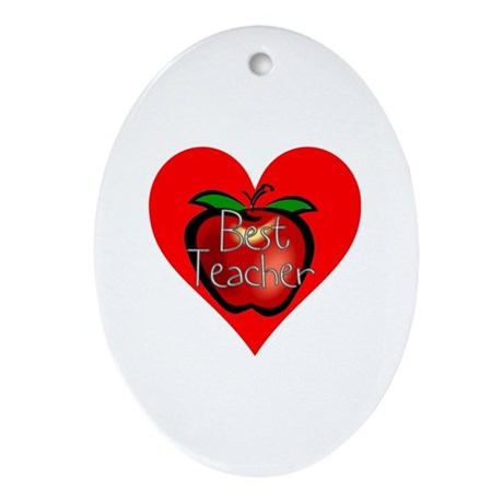 Best Teacher Apple Heart Oval Ornament
