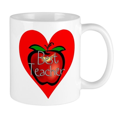 Best Teacher Apple Heart Mug