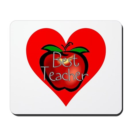 Best Teacher Apple Heart Mousepad