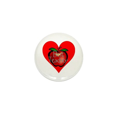 Best Teacher Apple Heart Mini Button (10 pack)