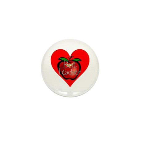 Best Teacher Apple Heart Mini Button