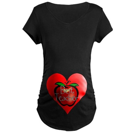Best Teacher Apple Heart Maternity Dark T-Shirt