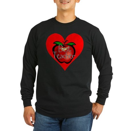 Best Teacher Apple Heart Long Sleeve Dark T-Shirt