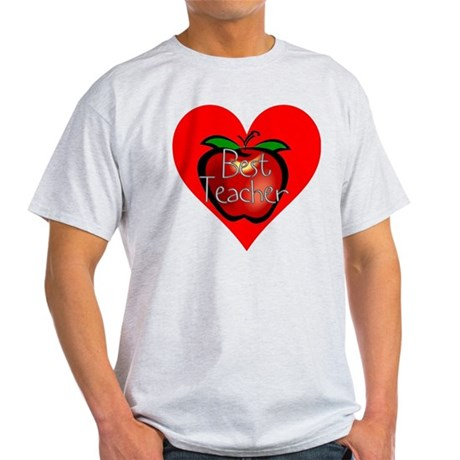 Best Teacher Apple Heart Light T-Shirt