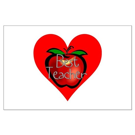 Best Teacher Apple Heart Large Poster