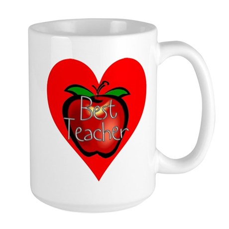 Best Teacher Apple Heart Large Mug