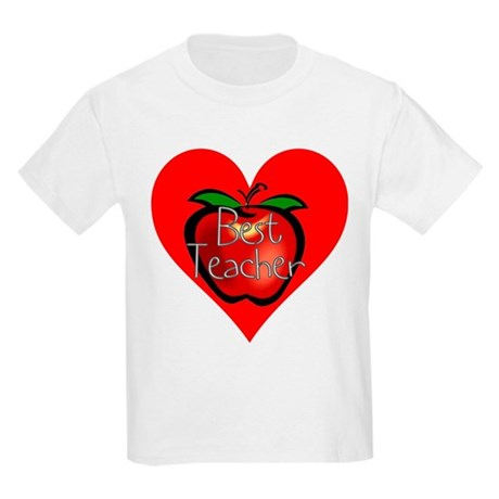 Best Teacher Apple Heart Kids Light T-Shirt